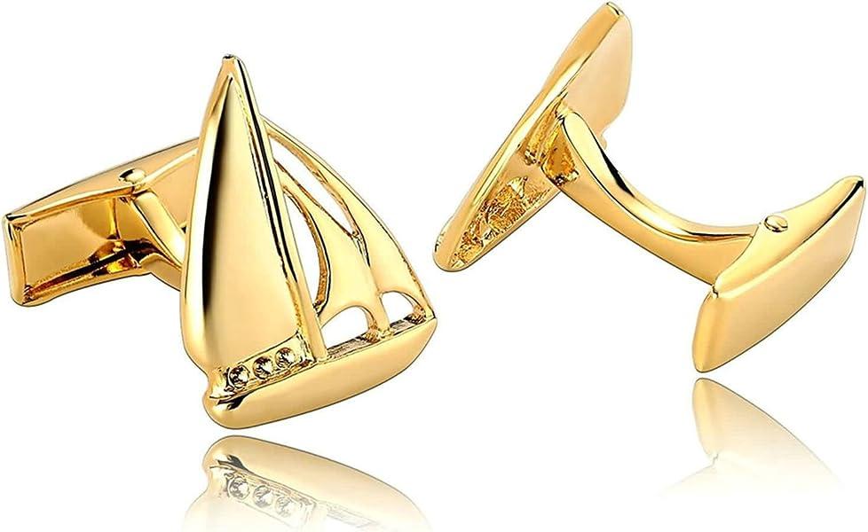 97dc8f964 Aooaz Mens Cufflinks Stainless Steel Vintage Yacht Sailboat Cufflinks Gold  Cufflinks Dad Unique Jewelry Box Fancy