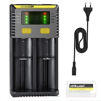 Nitecore i2 Cargador de Baterías para Cargar AA, AAA, Ni-MH Ni-CD y Li-Ion Cilíndrico Pila Recargable. Li-Ion:17670, 17500, 18490, 18650, 16340 ...