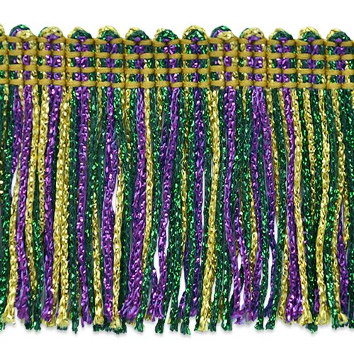 Expo International 2in Metallic Chainette Fringe Trim Mardi Gras Fabric By The -