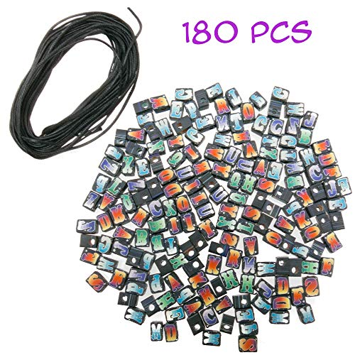 180 PCs Alphabet Letter A-Z Fimo Beads for Jewelry Making for Adults with 12 Yards Wax Cord - Great DIY Spacer Bead Kit for Bracelets, Necklaces, Pendant, Keychains, Crafts (Frog Great Jewellery)