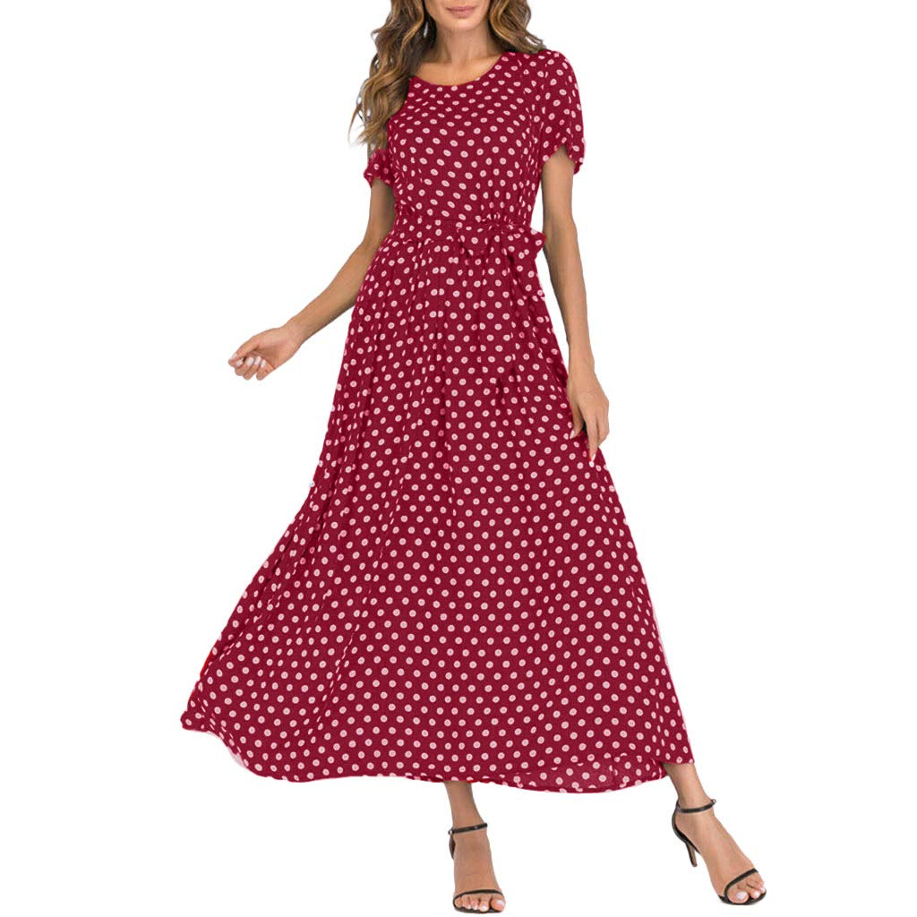 Mikilon Women Casual Boho Summer Maxi Dresses Polka Dot Short Sleeve Swing Dress with Belt Wine by Mikilon Women Dress