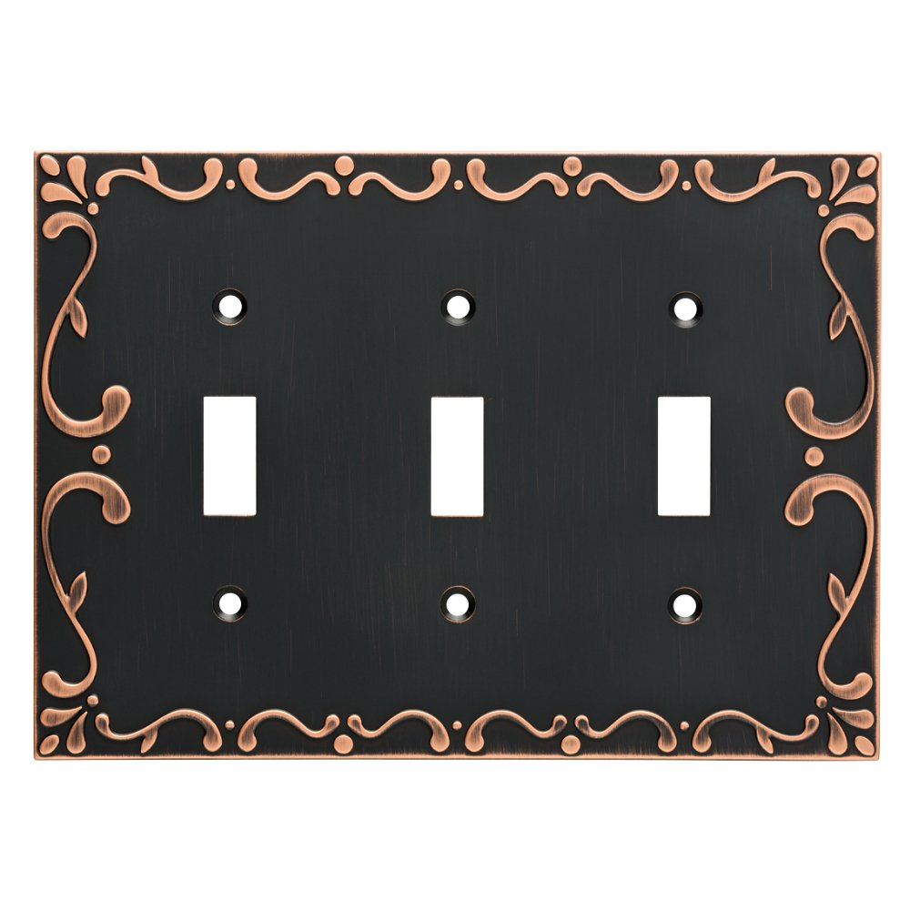 Franklin Brass W35078-VBC-C Classic Lace Triple Switch Wall Plate/Switch Plate/Cover with Copper Highlights, Bronze by Franklin Brass (Image #1)