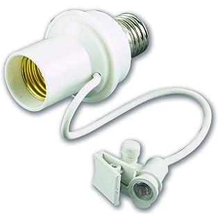 Electraline 58314 Adaptador E27 fotoeléctrico crepuscular, ajustable, color blanco,