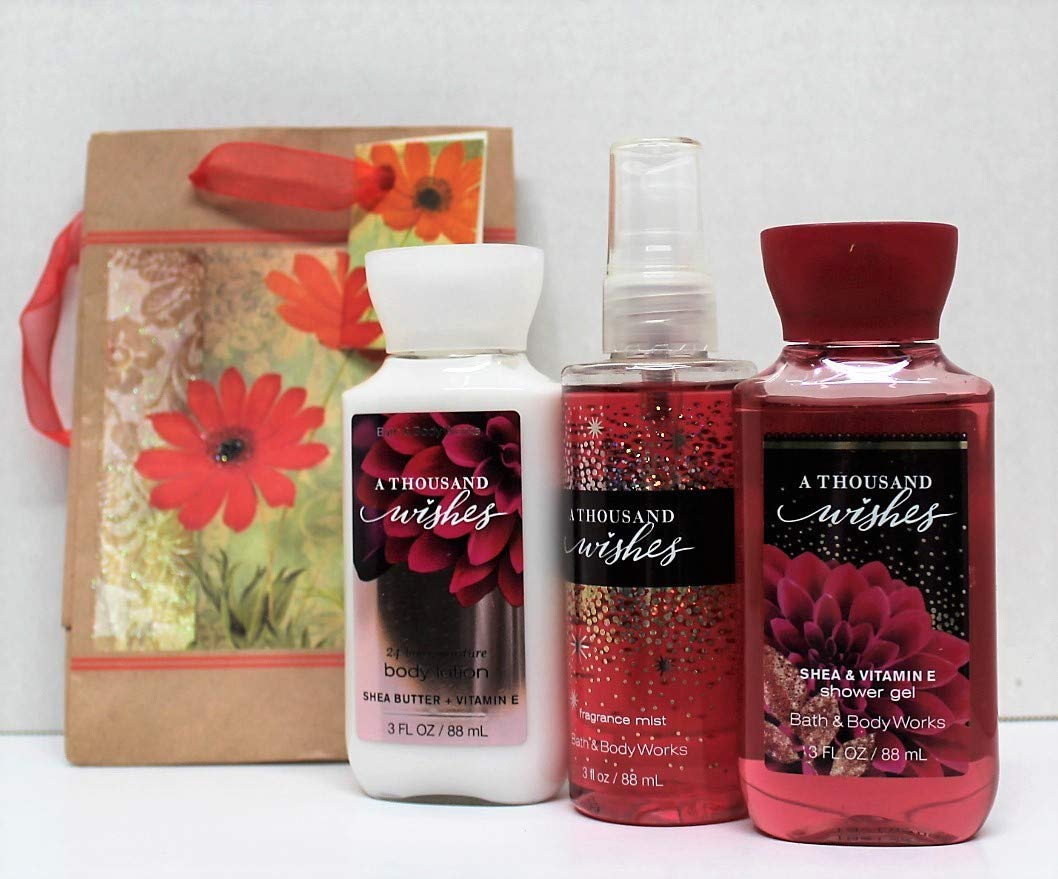 Bath and Body Works - A Thousand Wishes - Shower Gel - Fine Fragrance Mist & Body Lotion - Travel Size Set w/Gift Bag