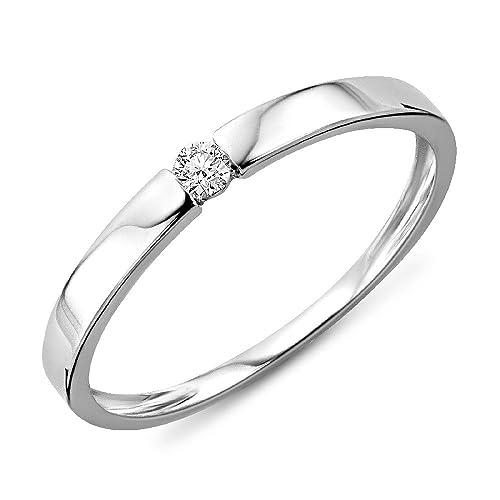 8c37fdb7bc47ff Miore Anello Donna Solitario Anello di Fidanzamento Diamante taglio  brillante Ct 0.05 Oro Bianco 9 Kt / 375: Amazon.it: Gioielli