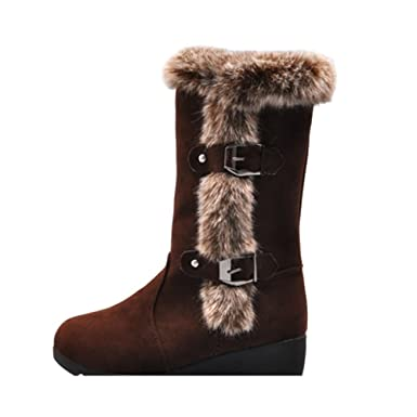 c1d477cdb57da Amazon.com: Ghazzi Women Boots Teen Girls Winter Boots Warm Mid Calf ...