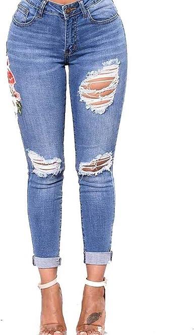 Pantalones De Mezclilla Ajustados A Tope Para Pantalones Mujer Vaqueros De Tiro Casuales Mujeres Bajo Bordados Pantalones Vaqueros De Tiro Bajo Con Botones Abajo Pantalones De Mezclilla Amazon Es Ropa Y Accesorios