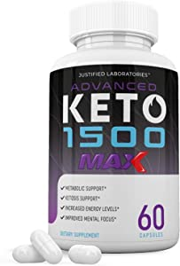 Advanced Keto 1500 Max 1200MG Pills Advanced Ketogenic Supplement Real Exogenous Ketones Ketosis Support for Men Women 60 Capsules