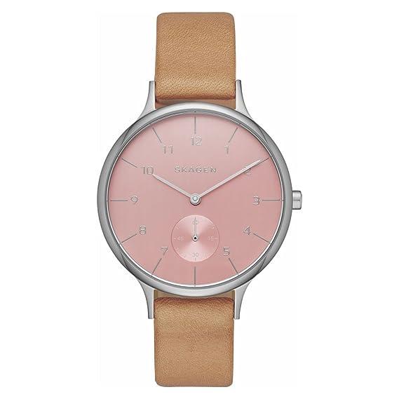 Skagen – Reloj de Cuarzo para Mujer con Fucsia Esfera Analógica Pantalla y Pulsera de Piel