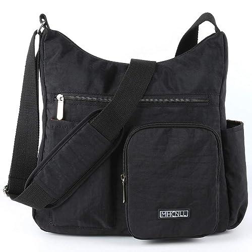 2212718f0bc5 Multi Pocket Shoulder Bag Purse Waterproof Lightweight Nylon Crossbody Bags  for Women (black)