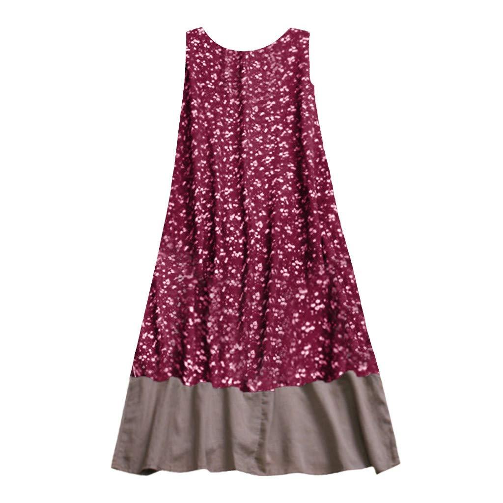Alangbudu Women Cotton Linen Casual Sleeveless T Shirt Dresses Beach Cover up Plain Pleated Tank Floral Long Maxi Dress Red
