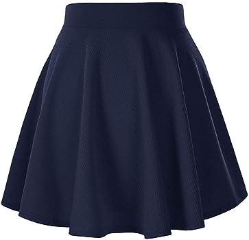 Skang Mujer Falda Mini Corto Elástica Plisada Básica Sólido ...