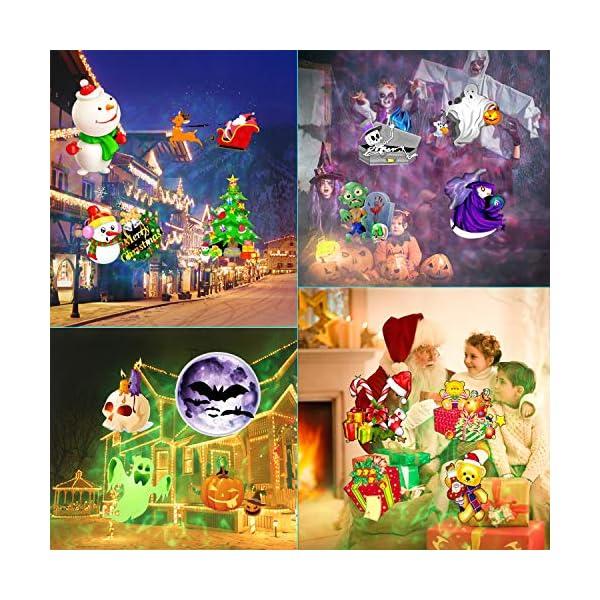 Natale Halloween Lampada per Proiettore LED, 20 Modelli ALED LIGHT Luce per Proiettore Impermeabile con Motivo a Onde d'Acqua con Telecomando Decorazione di illuminazione Festa Natale Interno Esterno 2 spesavip