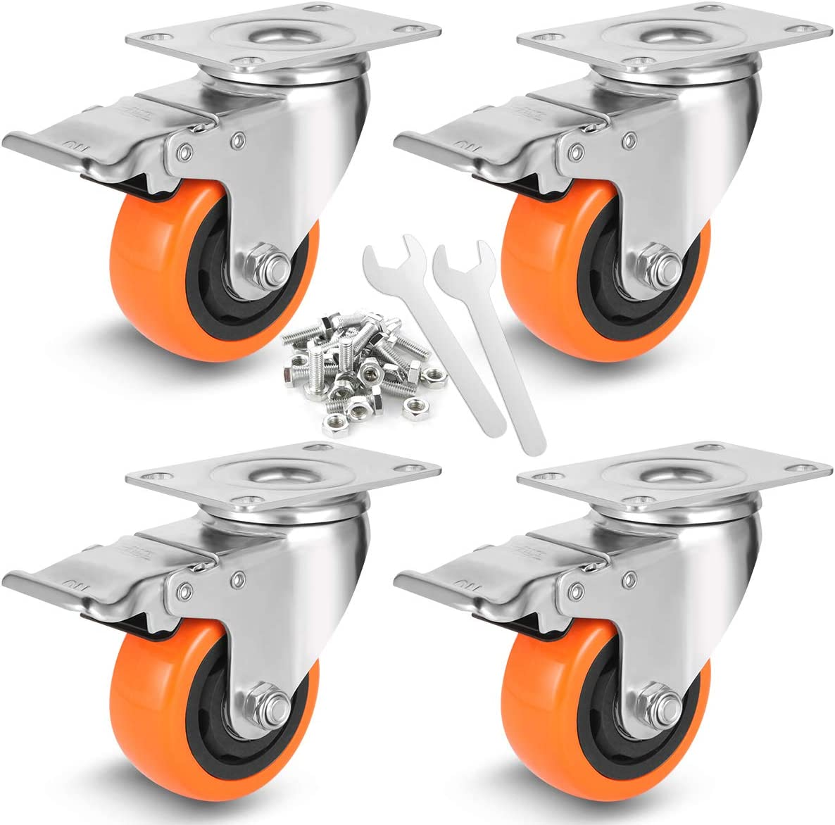 WBD WEIBIDA 3 Inch Swivel Casters Wheels with Safety Dual Locking, Heavy Duty of 1000lbs,Premium Polyurethane Wheels for Furniture and Workbench, Set of 4((Free Screws and Spanner)