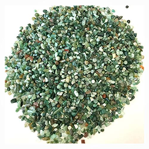 (WJYY Natural Irregular Tumbled Chips Crushed Stone Healing Reiki Crystal Shaped Stones Jewelry Making Home Decoration (1 lb) (Water Grass Agate))
