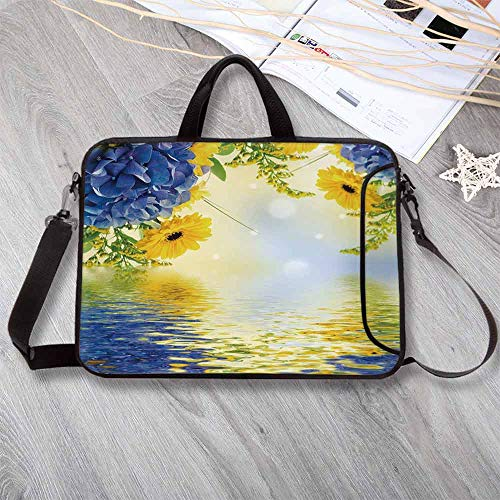 Yellow and Blue Anti-Seismic Neoprene Laptop Bag,Romantic Bouquet of Hydrangeas and Asters on Water Background Laptop Bag for Travel Office School,8.7