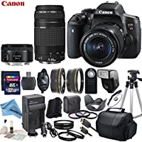 Canon EOS T6i Digital SLR Camera with EF-S 18-55mm STM Lens & EF 75-300mm f/4-5.6 III Lens & EF 50mm f/1.8 STM Lens with eDigitalUSA Premium Kit - International Version