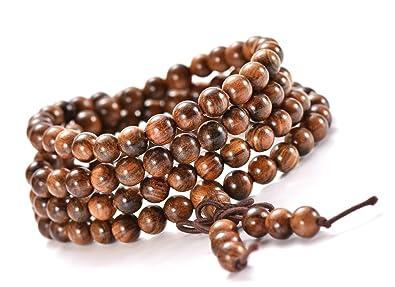 331ad83b69311 JIIUZUO Mala Beads Bracelet Necklace for Men Women 108 6mm Natural Wood  Beads Elastic Cord