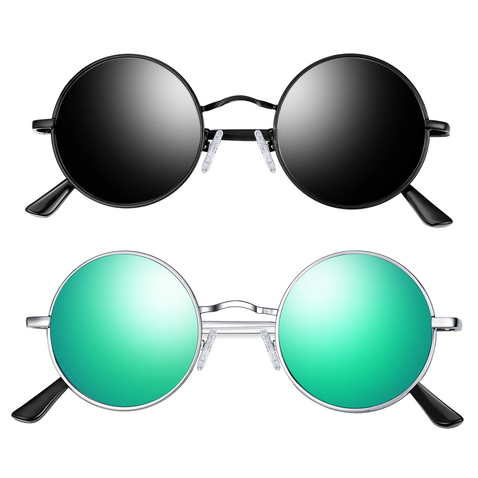 Joopin Lennon Round Sunglasses for Men Women, 2 Pack Small Circle Hippie Sunglasses Polarized (Black+Green) by Joopin