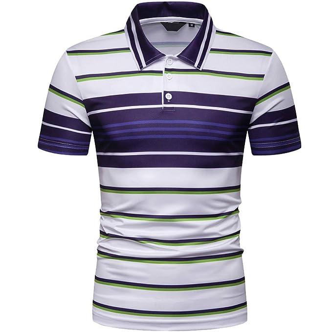 e125bba867b2 Elegeet Mens Short Sleeve Polo Shirt Casual Striped Classic Performance T-Shirt  Blue Small
