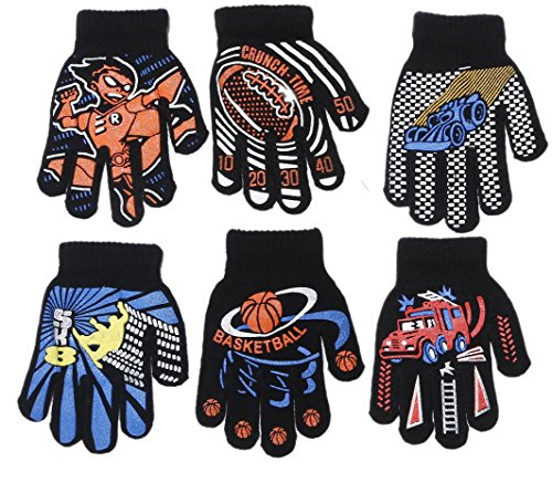 Gilbin Magic-Stretch Gripper Glove, Kids Size, Colorful Set, 6 Pair (Sports 2)