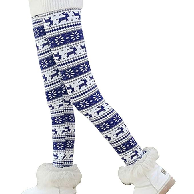 833d18d446312 Csbks Girls Fleece Lined Thick Leggings Colorful Autumn Winter Warm Pants  Blue Reindeer 2-3