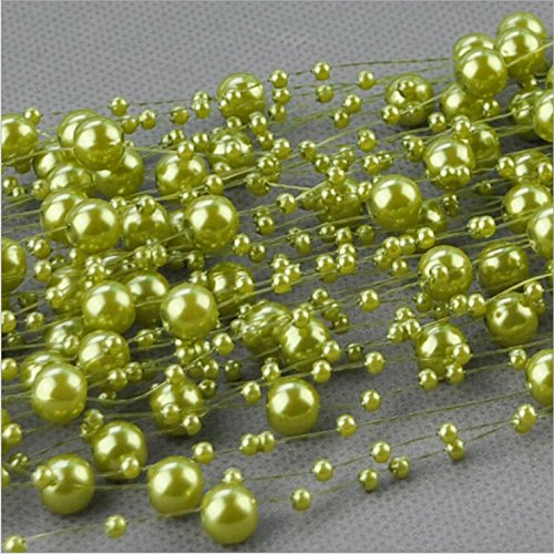 8 Mm Beaded Garland (Joinwin Hot Sale 200 Feet Roll 3&8mm Pearl String Bead Garland Strand Wedding Decoration DIY Bridal Party Supplies Craft Decor (Green))