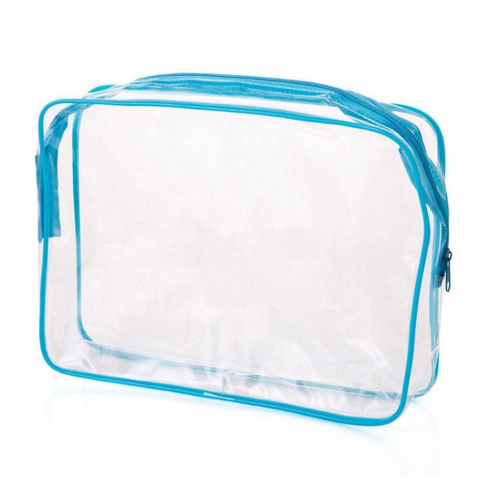merymall Voyage cosm/étique Sac de Rangement en PVC Transparent /étanche Sac Cosm/étique Couleur carr/é Student Beaut/é Trousse de Toilette s//m//L Taille L PVC Bleu 1
