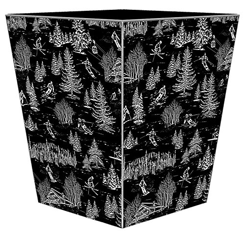 WB1711 - Black Ski Toile Wastepaper Basket