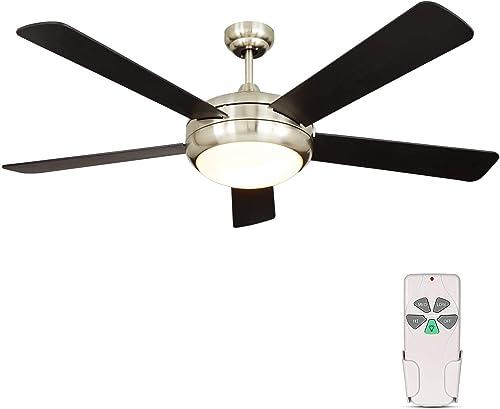 52 Inch Indoor Brushed Nickel Ceiling Fan