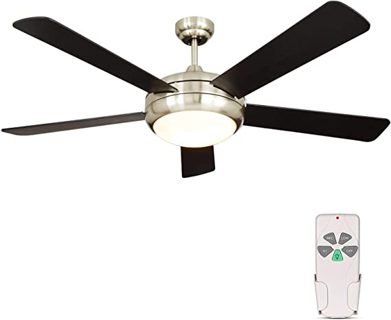 Amazon Com 52 Inch Indoor Brushed Nickel Ceiling Fan With Dimmable Light Kit And Remote Control Modern Style Lifetime Motor Warranty Reversible Blades Etl For Living Room Bedroom Basement Kitchen Kitchen Dining