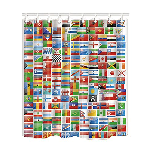 NYMB Educational World Country Flag for Kids Shower Curtain, Mildew Resistant Polyester Fabric Bathroom Decorations, Bath Curtains Hooks Included, 69X70 inches