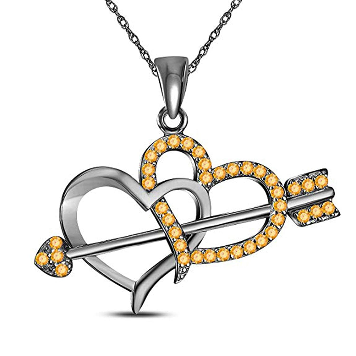 MD Jewellery Mothers Day Special-14K Gold Plated Simulated Diamond Studded Love Heart Pendant