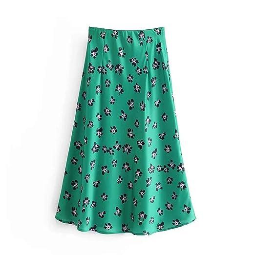 Faldas de Mujer Falda de Mujer Vintage Impresa Verde de Cintura ...