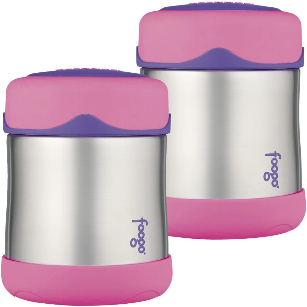 Thermos Foogo Leak-Proof Stainless Steel Food Jar, 10 Ounce - 2 Pack (Pink)