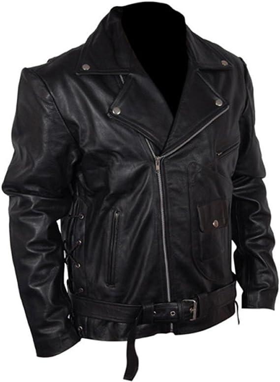 Classyak Mens Fashion Walking Dead Brando Style Leather Jacket