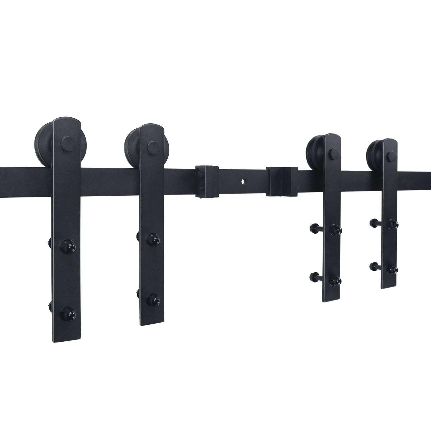 SMARTSTANDARD 12ft Double Door Sliding Barn Door Hardware (Black) (I Shape Hangers) (2 x6.0 foot Rail)