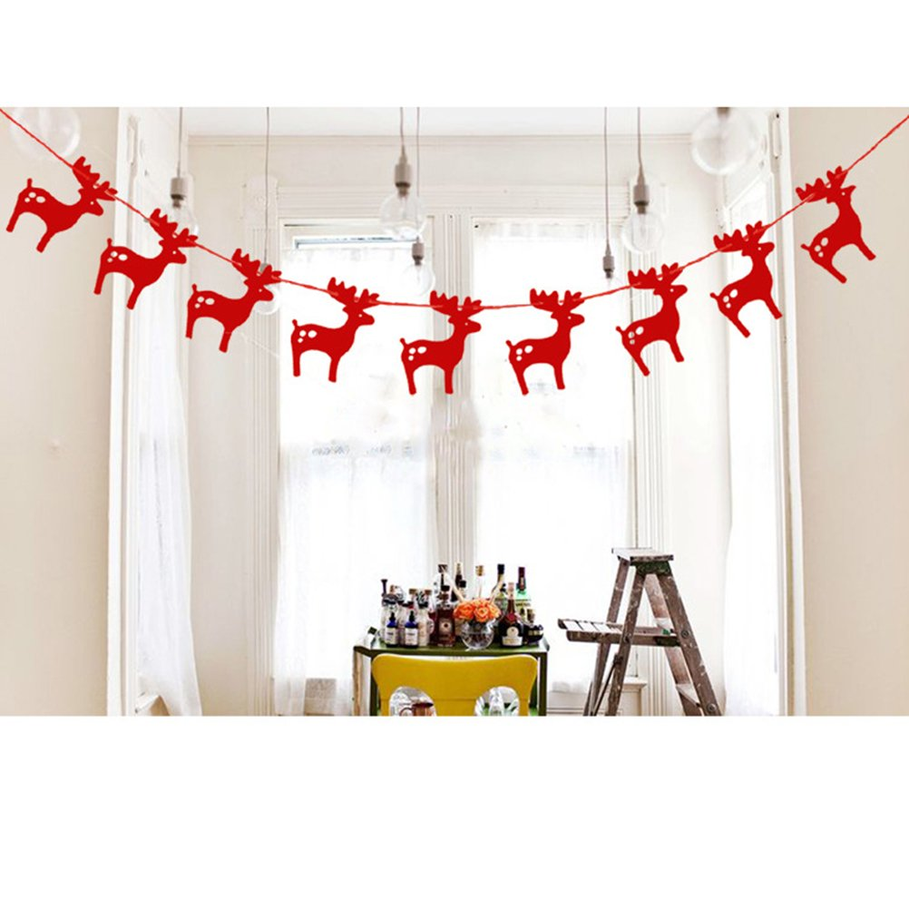 WINOMO Christmas Decoration 3m Moose Garlands Hanging Paper Banners Party Ornament with ribbon (Red)