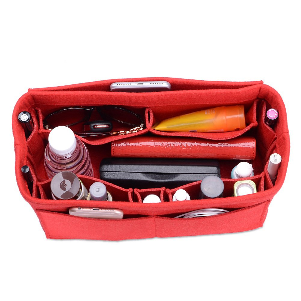 CEEWA Felt Purse Organizer, Multi Pocket Bag in Bag Organizer For Tote & Handbag Shaper, Speedy 30, Speedy 35 and Speedy 40, Medium, Large, Extra Large (Medium, Red)