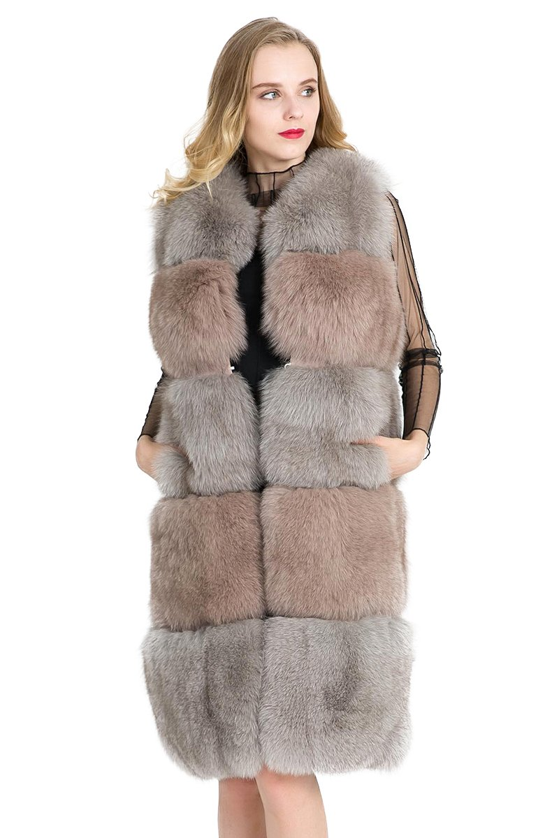 TOPFUR Winter Warm Real Fox Fur Mixed Color Long Vest Coats For Women Tops