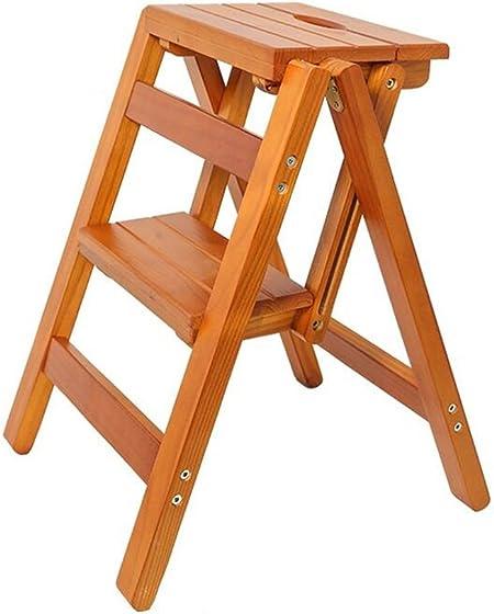 GJ-TD Escalera de Madera Maciza Silla Escalera de Madera Multifuncional Silla Escalera Plegable con 2 Pasos para la decoración del hogar y la Biblioteca (Color : A): Amazon.es: Hogar