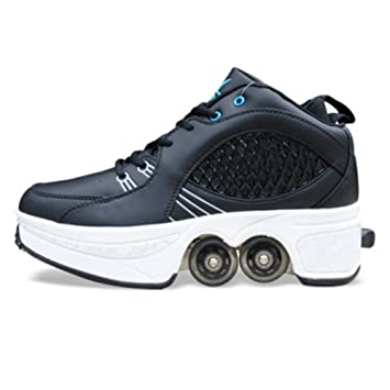 QINAIDI Patines De Hielo Polea Zapatos De Deformación Multifuncional Patinaje sobre Ruedas De Patinaje Cuádruple Deportes Al Aire Libre para Adultos,A,43: ...