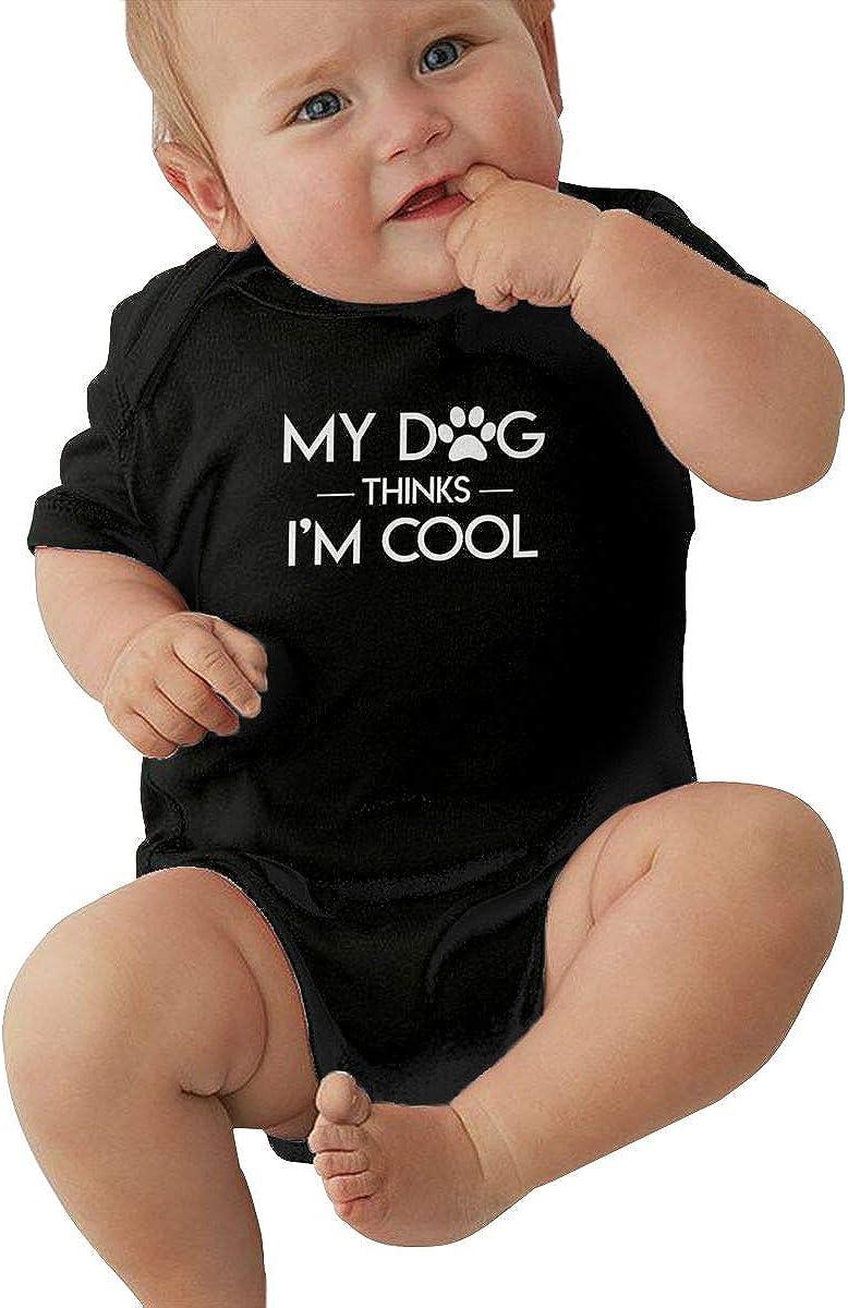 FOECBIR My Dogs Thinks Im Cool Baby Girl Boy Jersey Bodysuits Short-Sleeve Romper
