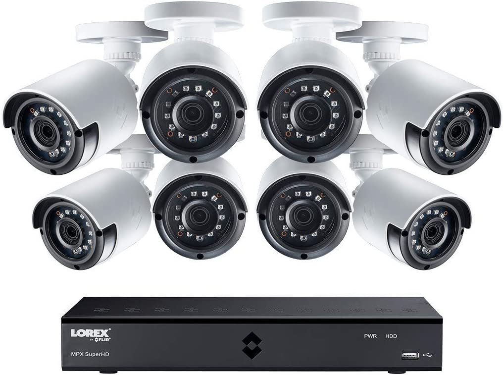 Lorex 2K Super HD Indoor/Outdoor Weatherproof Security System, 4 x 2K Super HD Bullet Security Cameras | Long Range IR Night Vision & Color Night Vision– Incl. 8 Channel 2K (4MP)DVR w/ 2TB Hard Drive