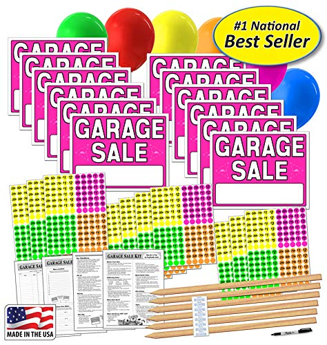 (Garage Sale Sign Kit with Pricing Stickers and Wood Sign Stakes (A802G))
