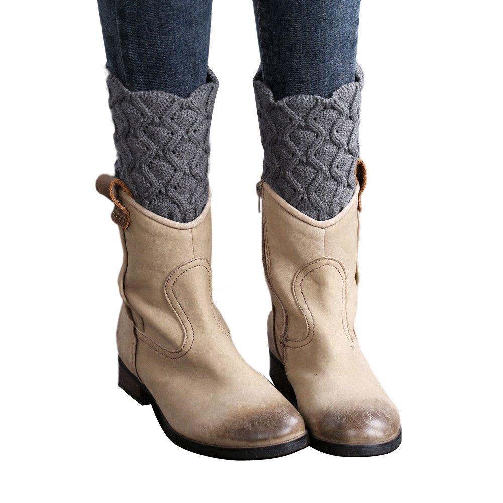 TININNA Autunno e Inverno Lana a maglia pizzo ritorto corte paragrafo Calzino Leggings calze Scaldino gambe Scaldamuscoli per le donne Beige