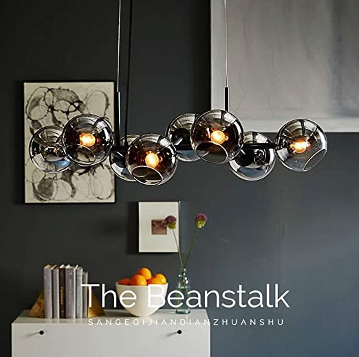 5-flammige Pendelleuchte Lampe*Hängeleuchte*Leuchte*Metall*Glas*LED*Pendellampe