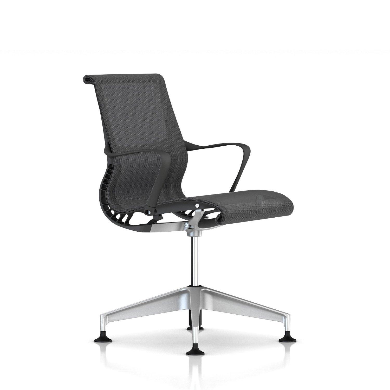 Herman Miller Setu Side Chair: Ribbon Arms - Slate Grey Frame-H-Alloy Base-Alpine Lyris
