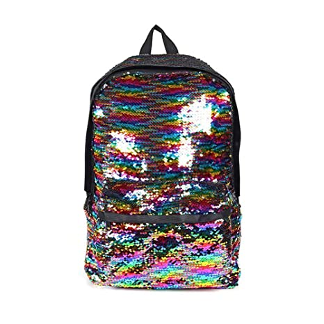 FOONEE Magic Reversible Sequin School Backpack, Fashion Lightweight Travel Mermaid School Bag, Sparkly Lightweight