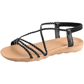 f02f5c2537020 Bringbring Women Summer Bohemia Woven Belt Simple Slippers Flat Beach  Sandals
